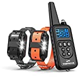 TIMPROVE 330 Yards Range Remote Dual Dog Training Collar, Rechargeable and IPX7 Rainproof Dog Shock Collar with Beep, Vibration and Shock, Electric Dog Collar for Puppy, Small, Medium and Large Dogs, 2 Electronic Collar Receivers Included