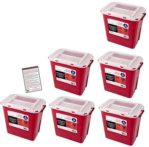 Bulk Sharps Container 2 Gallon - Plus Vakly Biohazard Disposal Guide (6 Pack) by Vakly