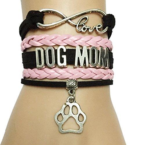 DOLON Infinity Love Dog Mom Bracelet-Black with Pink