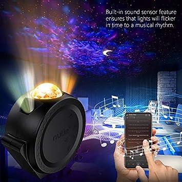 NU/ÜR 3 in 1 Mond Stern Wellen Projektor USB Wiederaufladbar mit 2200mAh Akku Projektor Lampe Multi-Modi Sternenhimmel Projektor mit Ton Sensor Funktion f/ür Kinder Erwachsene Ozean Projektor