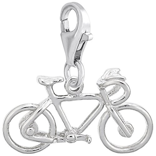 14k White Gold Bicycle Charm With Lobster Claw Clasp, Charms for Bracelets and Necklaces