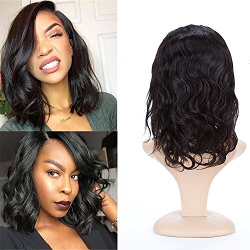 BeliHair Brazilian Virgin Human Hair Full Lace Wigs with Baby Hair 12 inch Body Wave 130% Density Hair Replacement Wigs for Black Woman, Natural Color by Belihair