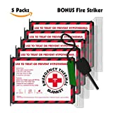FREE Fire Striker with 5 pack Emergency Blankets (EXTRA...