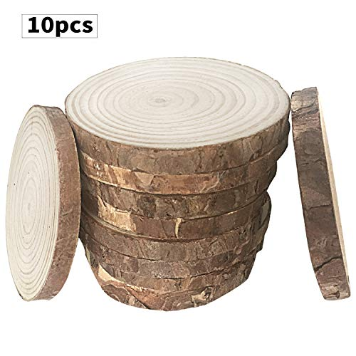 Fuhaieec 10pcs 4-4.7 Unfinished Natural Wood Circles with Tree Bark Log Discs for DIY Craft Christmas Rustic Wedding Ornaments