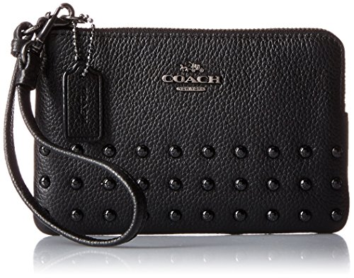 COACH Women's Lacquer Rivets Polished Pebbled Corner Zip QB/Black Coin or Card Case