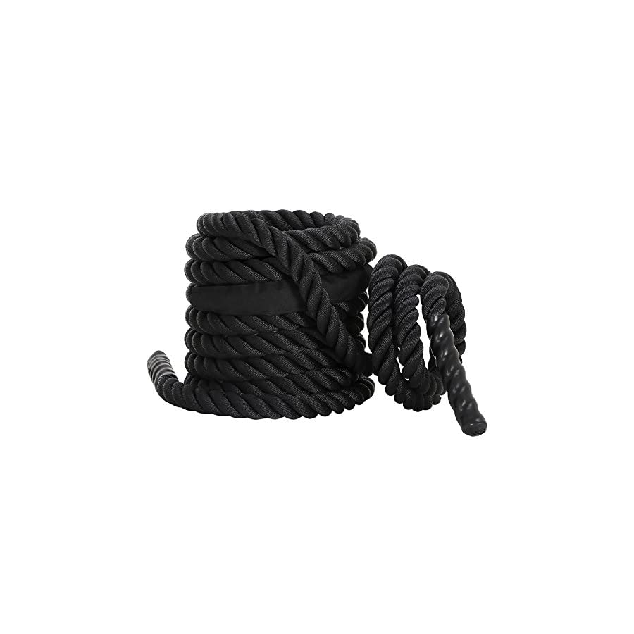 "Ollieroo Battle Rope / 3 Yr Warranty PolyDac Undulation Rope Fitness Rope and Strength Training 1.5"" width Avail. BLACK"