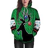 IEason Women top Women Christmas Deer 3D Printing Long Sleeve Hoodie Sweatshirt Pullover Top