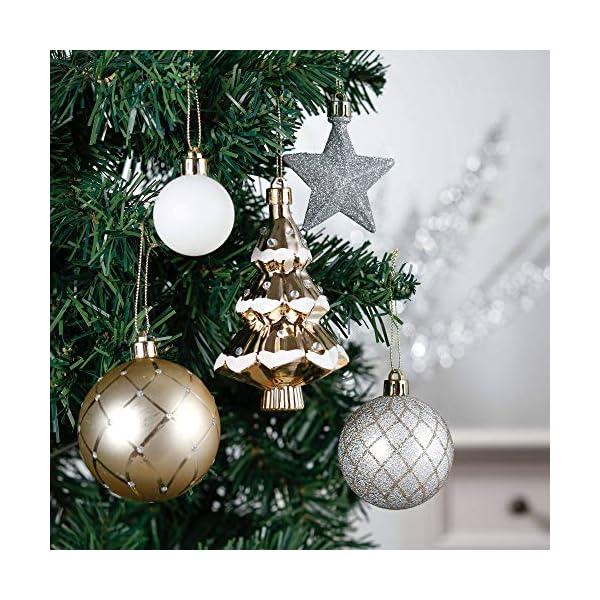 Valery Madelyn Palle di Natale 100 Pezzi di Palline di Natale, 3-5 cm Eleganti Ornamenti di Palle di Natale Infrangibili Bianchi e Dorati per la Decorazione Dell'Albero di Natale 4 spesavip