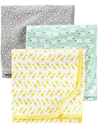 Baby 3-Pack Cotton Swaddle Blanket, Grey/White/Mint, One...