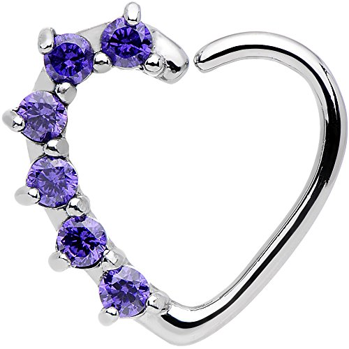 16 Gauge Purple Heart Right Closure Daith Cartilage Tragus Earring