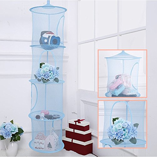 IDS Hanging Mesh Space Saver Bags Organizer 4 Compartments, Mesh Hanging Storage Organizer Toy Storage Space Saver Bags for Kid Room, Blue