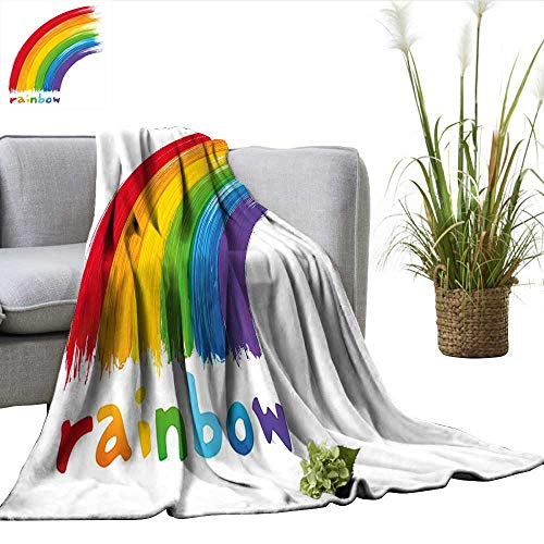 ScottDecor Rainbow Bed Cover Acrylic Looking Paint with Rainbow Printed at Bottom Correspondig Colors to Letters Blankets and Throws Multicolor W50 xL70 (Raiders Acrylic Tapestry Throw)
