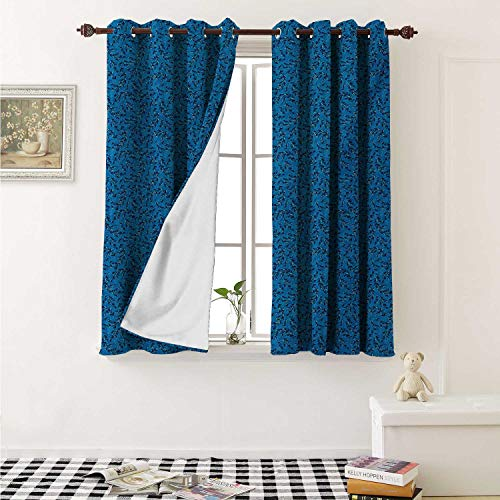 shenglv Leaves Blackout Draperies for Bedroom Foliage Silhouette and Outlines Pattern with Blue Tones Scenes from Nature Curtains Kitchen Valance W72 x L63 Inch Blue and Violet Blue