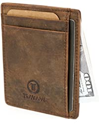 Travami RFID Blocking Leather Minimalist Super Slim Front Pocket Wallet