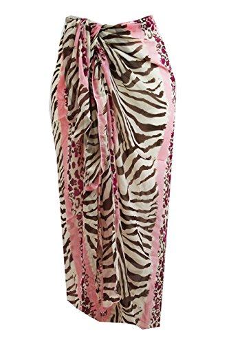 Tamari Beachwear Pink Zebra Gedruckt Sarong/Beach Cover-up/Wrap für Frauen, eine Größe