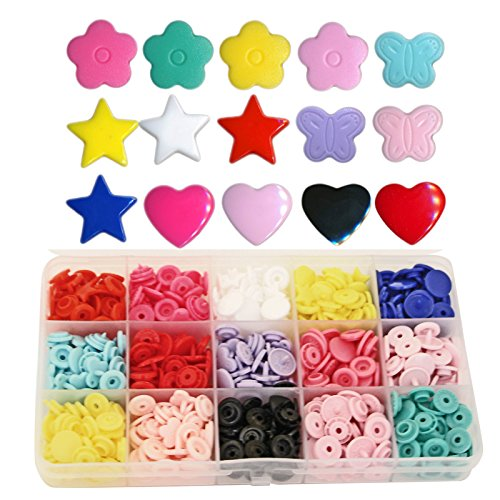 Shapes KAMsnaps 150 Sets Butterfly Star Heart Flower Size 20 (1/2 inch) Plastic KAM Snaps Button Fasteners Storage Container by KAMsnaps