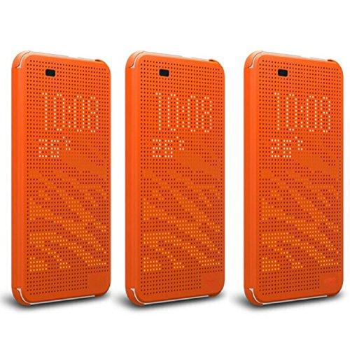 Pooqdo (TM) For HTC Desire 820, Luxury Ultra Slim Dot View Flip Smart Case Cover For HTC Desire 820 (Orange)