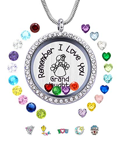 JOLIN Remember I Love You Granddaughter Floating Locket, Best Girls Gift,30mm Stainless Steel Pendant Necklace Pretty Box, Free Chain, Greeting Card