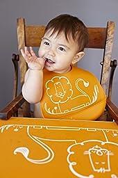 modern-twist Baby Silicone Bucket Bib, Dandy Lion, Orange