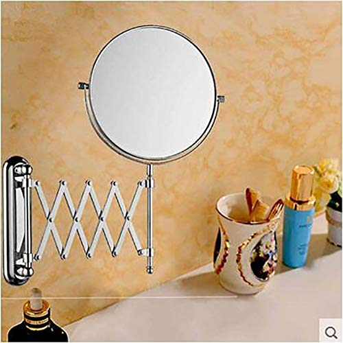 Hotel Folding Wall-mounted Double-sided Telescopic Magnifying Vanity Mirror Bathroom Beauty Mirror Princess Mirror 6 8 Inches (Size : 6 inches) by Wall-mounted Folding Mirror (Image #1)