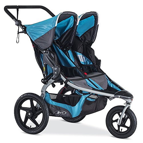 BOB Revolution Flex Duallie 2.0 Jogging Stroller - Up to 100 pounds - UPF 50+ Canopy - Adjustable Hadlebar, Lagoon