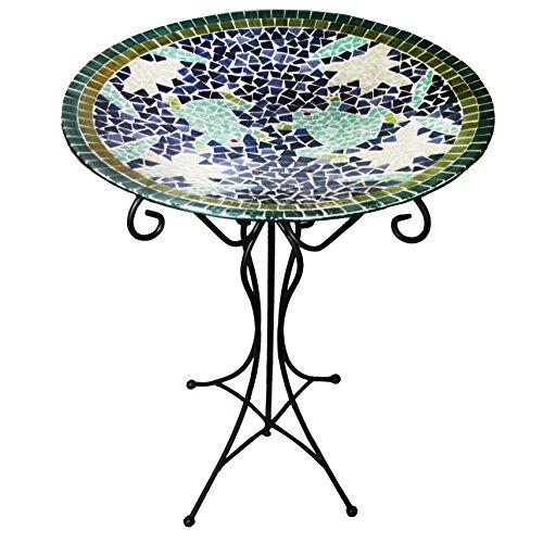 Gardener's Select A14BFG01D Mosaic Glass Bird Bath and Stand, Frog Design