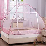 TNC Mosquito Net Folding Portable for Double Bed Insect Protection Repellent Shield Home &Travel, Hanging Kit Quality product Lightweight Pop-Up Tent for Beds with net bottom for baby's adults camping trips picnic anti-mosquito - PINK