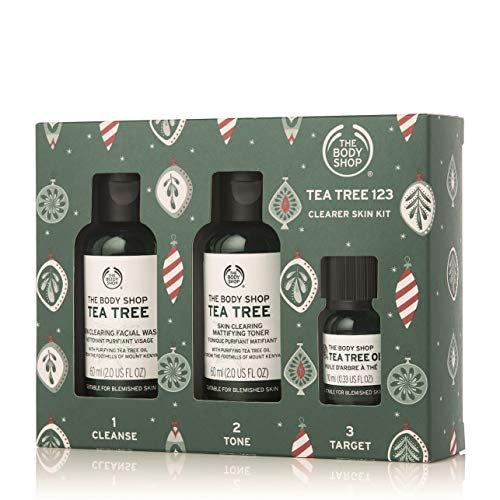 The Body Shop Tea Tree Gift Set, Simple 3-Step Routine With Tea Tree Face Wash, Toner, Oil