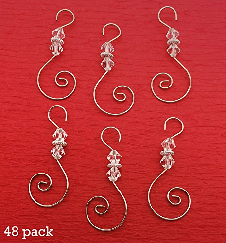 Diamond Swirled Beaded Photo Ornament Hooks 48 Christmas Decoration Hangers