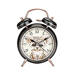 Retro Copper Twin Bell Alarm Clock Cute Leopard Cat Pattern