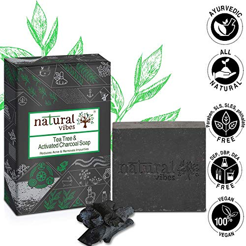 Natural Vibes ~ Tea Tree and Activated Charcoal Soap 150 gram ~ Reduces Acne and Removes Impurities