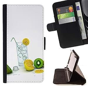 For Samsung Galaxy Note 3 III - Fruit Macro Lemon Kiwi /Funda de piel cubierta de la carpeta Foilo con cierre magn???¡¯????tico/ - Super Marley Shop -