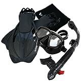 Promate Snorkeling Mask Dry Snorkel Fins Mesh Gear Bag Set 7590, ABk, SM