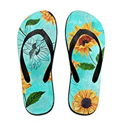 0a88c71de7e9 Flip Flops Shabby Chic Sunflower Floral Women s Beach Slipper .