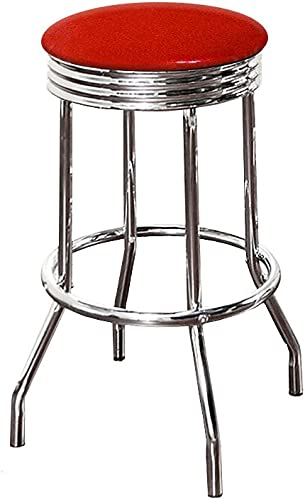 The Furniture Cove 1-29 Tall Chrome Finish Retro Soda Fountain Style Swivel Seat Bar Stool Featuring Your Favorite Colored Glitter Vinyl Seat Cushion Red Glitter