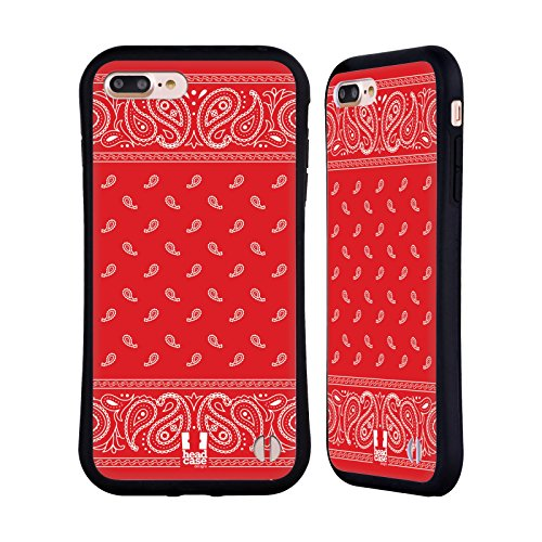 (Head Case Designs Square Red Classic Paisley Bandana Hybrid Case for iPhone 7 Plus/iPhone 8)