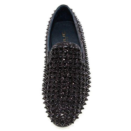 Sprong Newyork Heren Luxor Ronde Neus Textiel En Leer Metalen Spike Slip-on Rokende Slipper Jurk Loafer Zwart