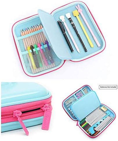 Estuche para lápices JIESD-Z para niñas, con diseño de búho, con cremallera, de goma EVA, gran capacidad, para preescolar, jardín de infantes, niños, color rosa rojo 22 * 15 * 4cm: Amazon.es: