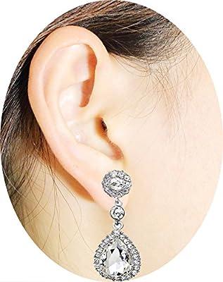 OMTBEL STOOLY Women Pear Shape Crystal Earrings Dangle Teardrop Rhinestone Earring