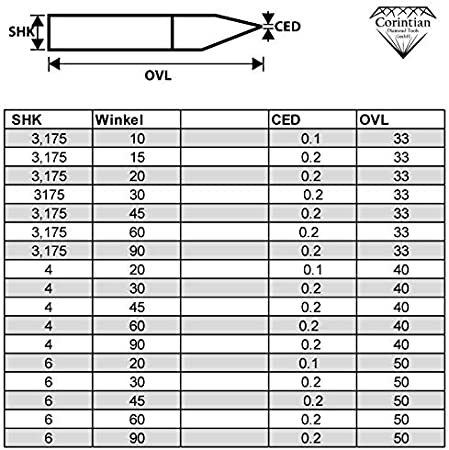 PCB Placa de circuitos PCB fresar madera /6/mm de di/ámetro 10/ corintian VHM Gravier Buril grabado Buril CNC grabado grabar de metal /90/grados 3,175/ pl/ástico