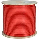 Vertical Cable Cat6A 10G, UTP, 23AWG, Solid Bare Copper, PVC, 1000ft, Red, Bulk Ethernet Cable