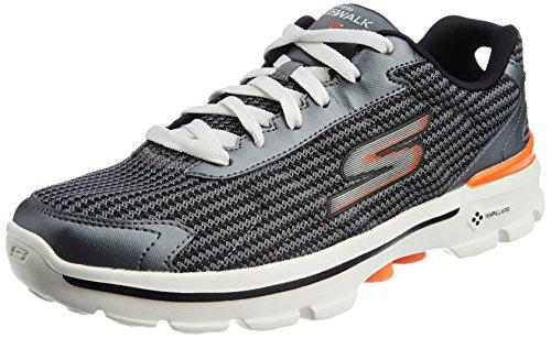 Skechers Mens Gowalk 3 Fitknit Sneaker Uomo Grigio charcoal orange