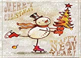 SRJ2018 Cartoon white little snowman wearing black top hat red plaid line scarf and mittens on ski Super Absorbent, Non-slip Mat or Door Mat, Soft and Comfortable
