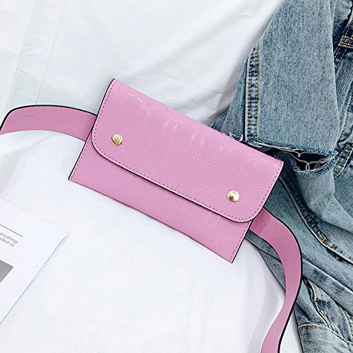 Women Belt Chest Waist Bags Ecotrump Leather Fanny PU Small Flap Phone Pack Pink Handbags pqwxqXdHt