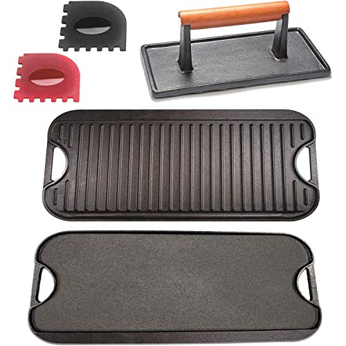Cast Iron Griddle with Accessories Includes Reversible Cast Iron Griddle/Grill