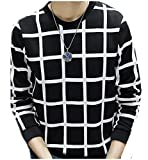 Abetteric Men Spring Autumn Light Weight Fashion Patterned Pullover Black XL