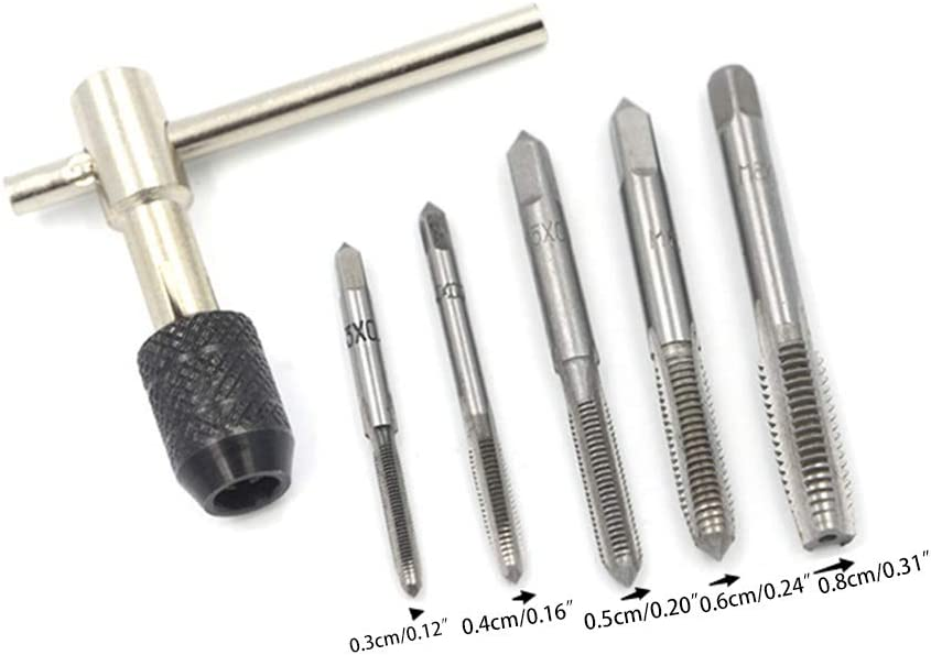 Sara-u 6pcs M3-M8 Tap Drill Set//T Handle Ratchet Tap Wrench Machinist Tool with Screw Tap Hand.