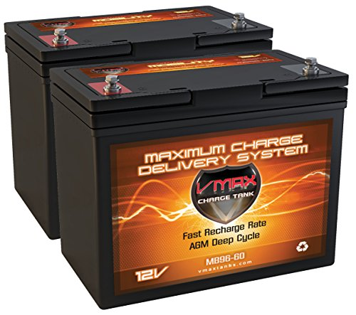 QTY 2 VMAX MB96-60 12 Volt 60Ah AGM Deep Cycle Wheelchair battery, replaces 55ah Group 22NF batteries. 12V Group 22NF Scooter & Wheelchair Battery for Pride Mobility, Jazzy, Invacare 22NF -