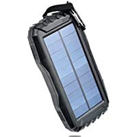 Portable Solar Phone Charger TOENNESEN 25000mAh Capacity Solar Powered Charger Power Bank Solar Battery Charger with Led-Flashlight/2 USB Ports for Cell Phone/iPad/GoPro Camera/GPS(Black)
