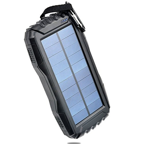 Portable Solar Charger TOENNESEN energy Bank Charger 25000mAh Capacity utilizing LED Flashlight/2 USB Ports for Smartphone/iPhone/Samsung Galaxy/iPad/GoPro Camera/GPS(Black)